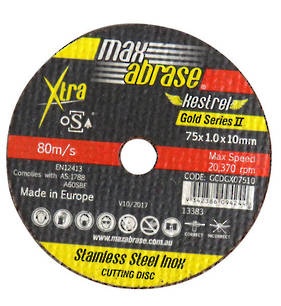 Max Abrase 75mm x 1.0 x 10 Stainless Steel Inox Cut off Wheel